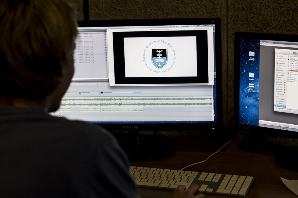 The studio has 4 final cut pro 7 editing suites which students can use for audio and video post-production. The studio also houses a multi-purpose audio and video duplicating area which allows for format conversion and transfers, e.g.  tape to DVD.   The various formats supported are:   -	VHS -	Betamax -	Umatic – low and high band -	SVHS -	DV, DVCam -	HDV -	Betacam -	DVD Film (16mm, 8mm) can be transferred to tape or DVD.                                                                                                                 The video formats conversion and transfers service offered at UCT TV is available to all UCT departments and a nominal fee is charged.  (see our services rates card)     Equipment Hire Services This service is available to CFMS production students only. CFMS production students can book and collect the film production gear they need for practice / to complete projects. The equipment can be collected and returned between 9am and 1pm during week days only.   All the above services are available for Academic use only!